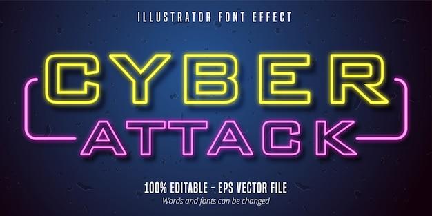 사이버 공격 텍스트, 네온 간판 스타일 편집 가능한 글꼴 효과