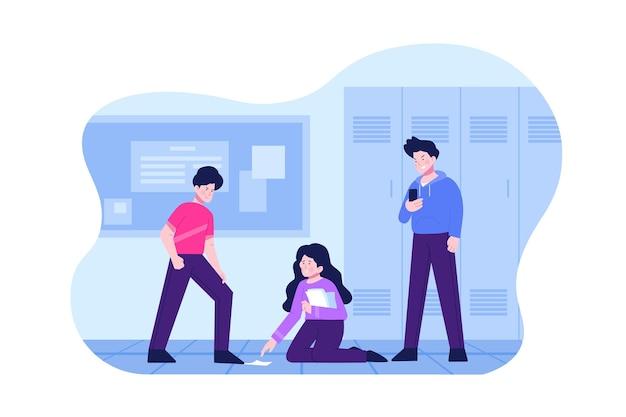 Progettazione dell'illustrazione di cyber bullismo