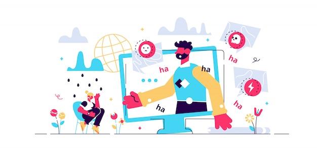 Кибер издевательства иллюстрации. плоские крошечные веб-насилие лиц концепции. унижение, агрессивное словесное нападение и жертва злого общества в социальных сетях. злоупотребление комментариями и опасным троллингом в чате.