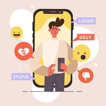 Cyber bullismo illustrazione stile