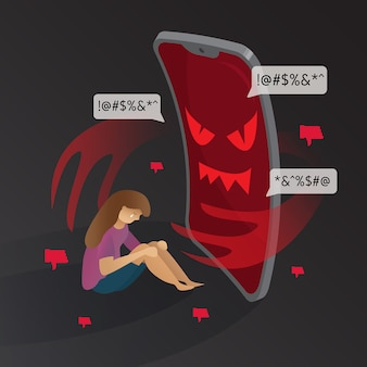 Cyber bullying phone devil with sad girl illustration