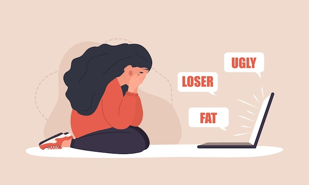 Cyber bullying. sad woman with laptop receiving pop up messages. online abuse concept.