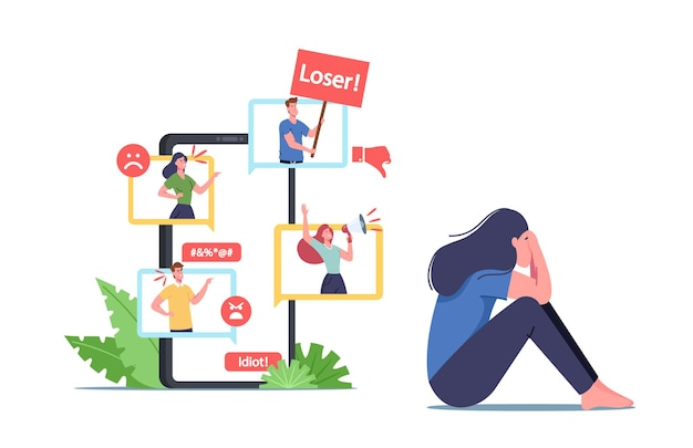 Cyber bullying, social attack, bully hate. teen character crying front of smartphone screen after being bullied and called nasty names over internet. cyberbullying abuse. cartoon vector illustration