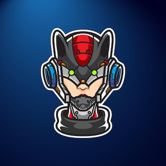 Cyber cat girl sport logo