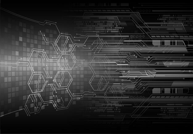 사이버 회로 미래 기술 개념 배경 프리미엄 벡터