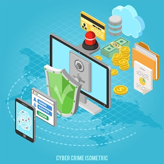 シールド、指紋、ウイルス対策、金庫、お金などの等尺性のフラットアイコンを使用したサイバー犯罪とデータ保護の概念。ベクトルイラスト。