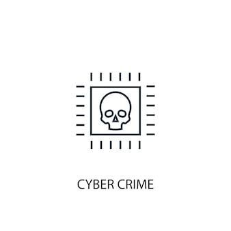 사이버 범죄 개념 라인 아이콘입니다. 간단한 요소 그림입니다. 사이버 범죄 개념 개요 기호 디자인입니다. 웹 및 모바일 ui/ux에 사용 가능