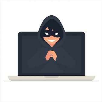 사이버 범죄 개념 벡터 illustation