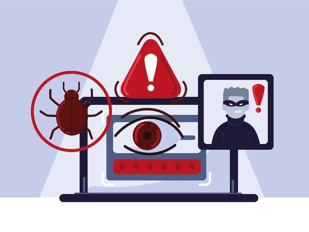 Компьютер данных о киберпреступности Premium векторы