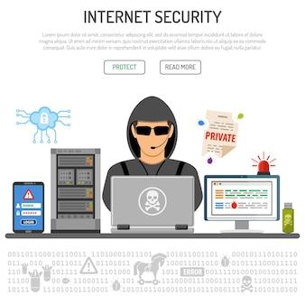 사이버 범죄, 해킹, 평면 아이콘 해커, 클라우드, 서버, 바이러스, 해킹 암호가 있는 인터넷 보안 개념. 고립 된 벡터 일러스트 레이 션
