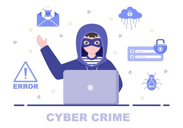 컴퓨터에서 디지털 데이터, 장치 시스템, 암호 및 은행 문서를 훔치는 사이버 범죄 그림 피싱