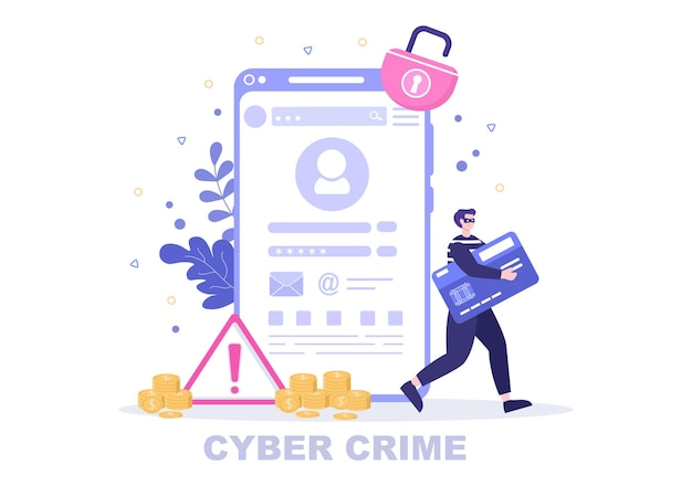 Cyber crime illustration phishing stealing digital data, device system, password, and bank document from the computer