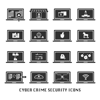 Cyber crime security black icons set for website.