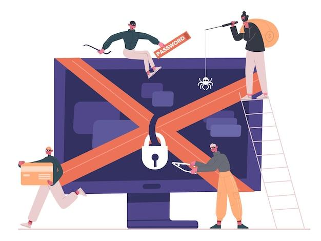 사이버 범죄자 및 해커. 고립 된 컴퓨터를 공격하는 인터넷 범죄자, 크래커 및 강도 프리미엄 벡터