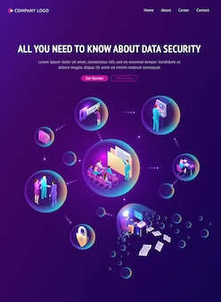 Cyber data security isometric landing page, banner