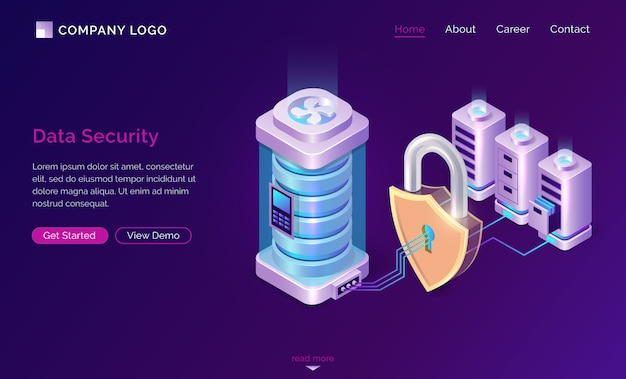 Cyber data security isometric landing page banner