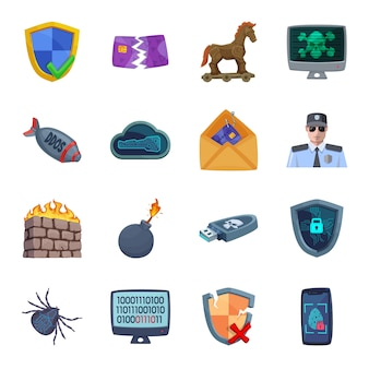 Cyber defense cartoon icon set, cyber security.