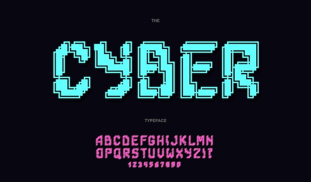 Cyber font trendy typography. modern typeface poster, decoration, animation, t shirt, racing, game, promotion, sale banner, printing on fabric. cool font.