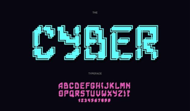 Модная типография cyber font. современный шрифт, плакат, оформление, анимация, футболка, гонки, игра, продвижение, распродажа баннеров, печать на ткани. классный шрифт.