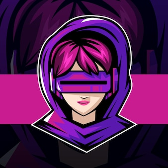 Cyber gamer girl esport logo mascot design