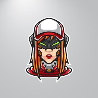 Cyber girl streamer mascot logo
