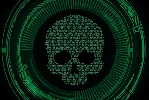 Кибер хакерская атака фон череп вектор