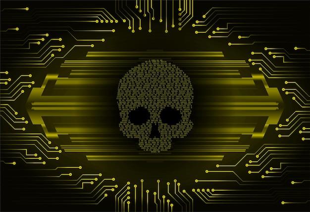사이버 해커 공격 배경 해골 벡터