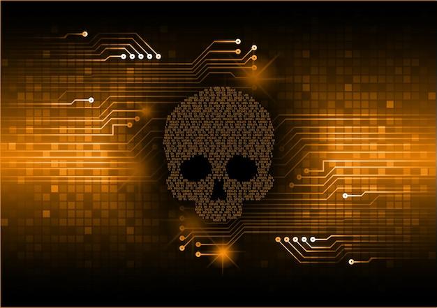 Cyber hacker attack background skull vector
