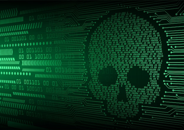 Cyber hacker attack background, skull