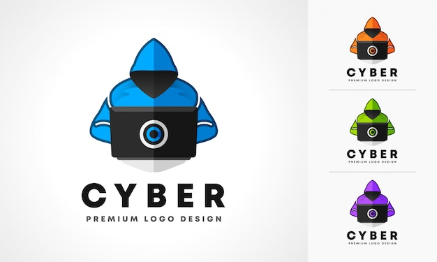 Cyber hacker logo design
