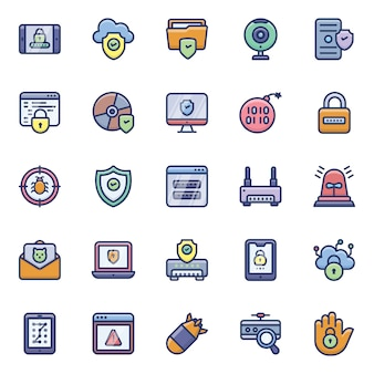 Cyber hacking icons pack