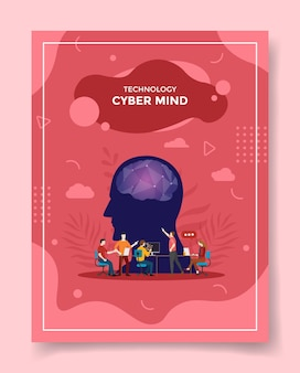 Cyber mind concept people discuss meeting front head brain