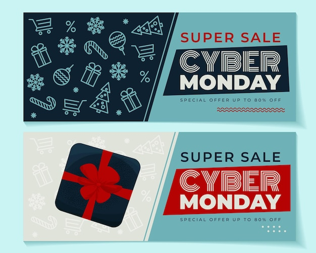 Cyber monday 2 banner set with winter elements and gift box. vector illustration