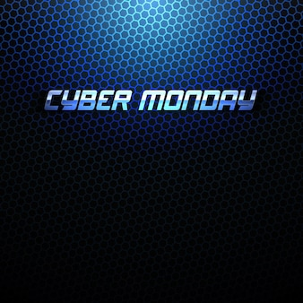 Cyber monday 3d metallic text design template technology abstract background