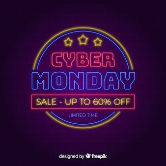 Cyber monday background in neon style