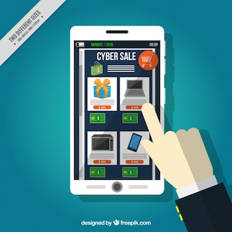 Cyber monday background with finger touching a mobile's screen