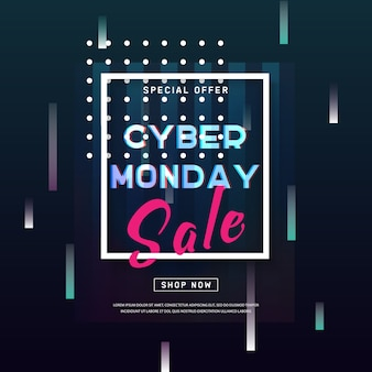Cyber monday banner. abstract background with glitch effect shapes.