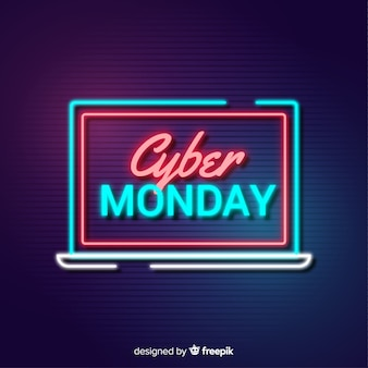 Cyber monday banner on computer screen