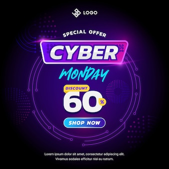 Cyber monday banner concept with futuristic  design style