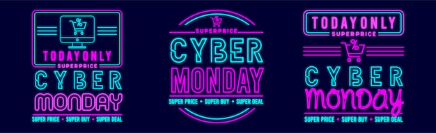 Cyber monday banner design with neon glow style premium vector