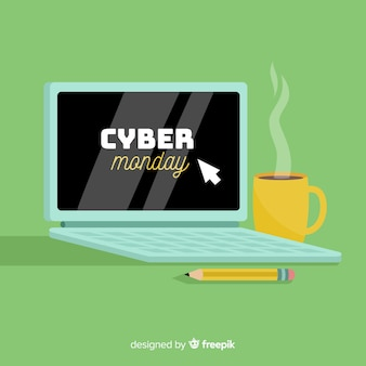 Cyber monday banner on desktop table