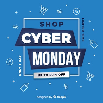 Cyber monday banner in flat design