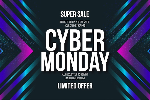 Banner del cyber monday in stile memphis con testo modificabile