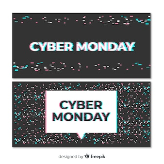 Cyber monday banner set with glitch effect
