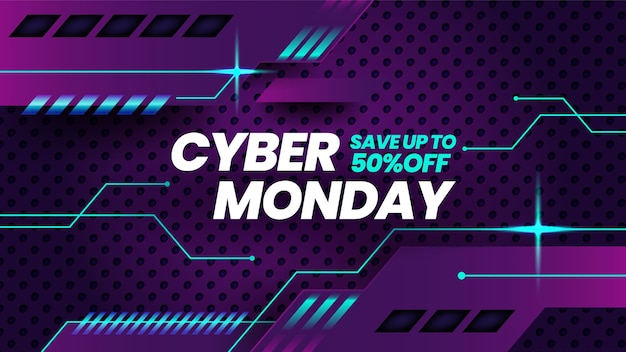 Cyber monday banner template in realistic style