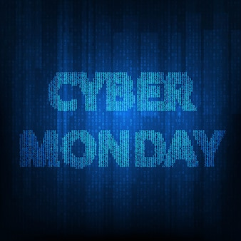 Cyber monday banner with blue matrix.