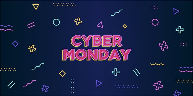 Cyber monday banner with memphis