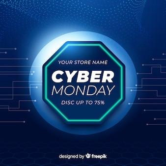 Cyber monday banner with realistic technology