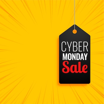 Cyber monday banner with sale tag on yellow
