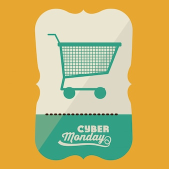 Cyber monday banner with shopping cart